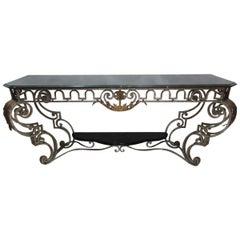 Iron and Marble-Top Console Table