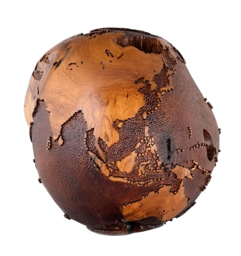 Organic Modern Iron Mask Globe, Metal Continents, Hammered Skin Oceans, 91 Stainless Bolts For Sale