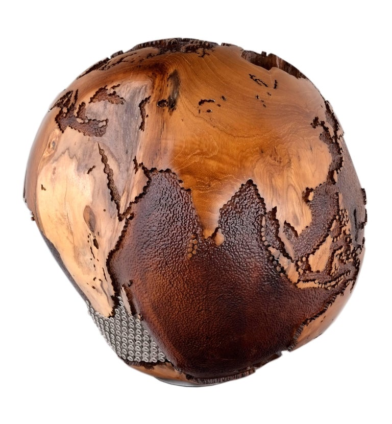 Appliqué Iron Mask Globe, Metal Continents, Hammered Skin Oceans, 91 Stainless Bolts For Sale