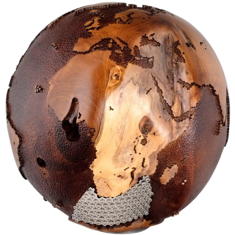 Iron Mask Globe, Metal Continents, Hammered Skin Oceans, 91 Stainless Bolts For Sale