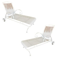 Iron Mesh Outdoor / Patio Chaise Lounge by Woodard, 3 - Available