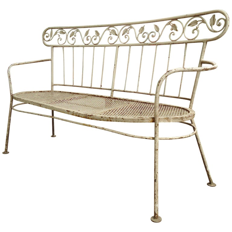 Iron Midcentury Lawn Bench For Sale