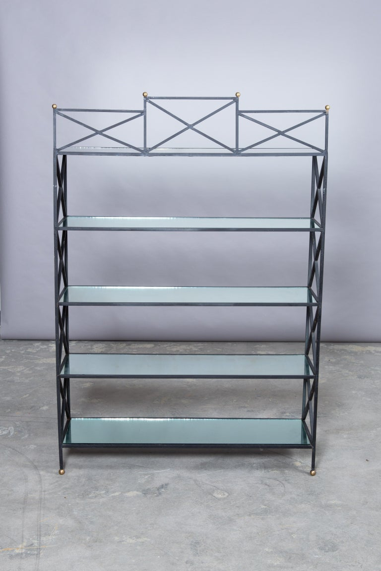 Iron Neoclassical Style Étagère with Mirror Shelves For Sale 5