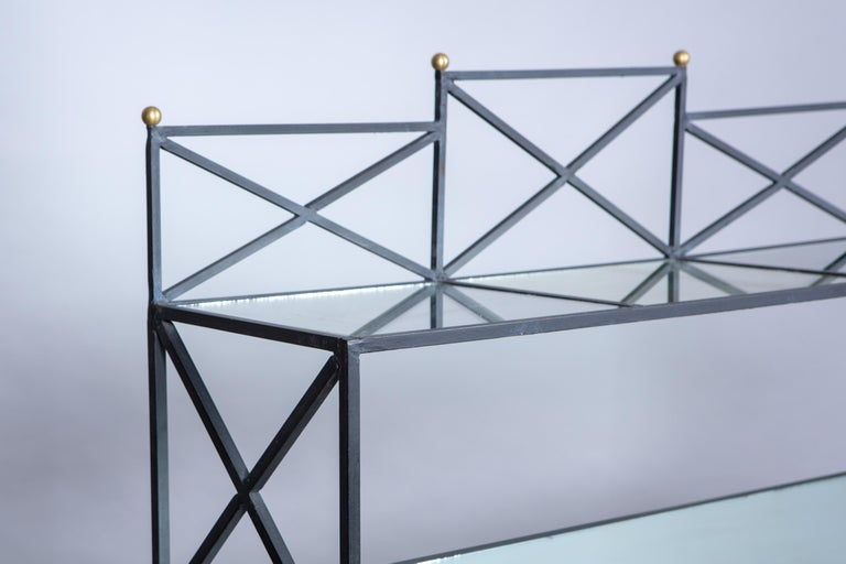 Iron Neoclassical Style Étagère with Mirror Shelves For Sale 1