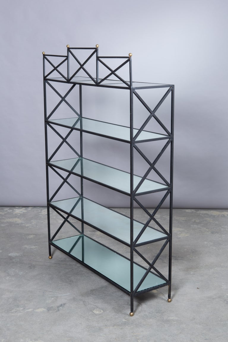 Iron Neoclassical Style Étagère with Mirror Shelves For Sale 4