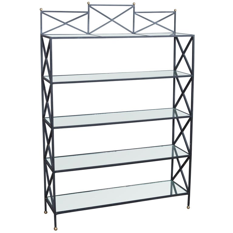Iron Neoclassical Style Étagère with Mirror Shelves For Sale