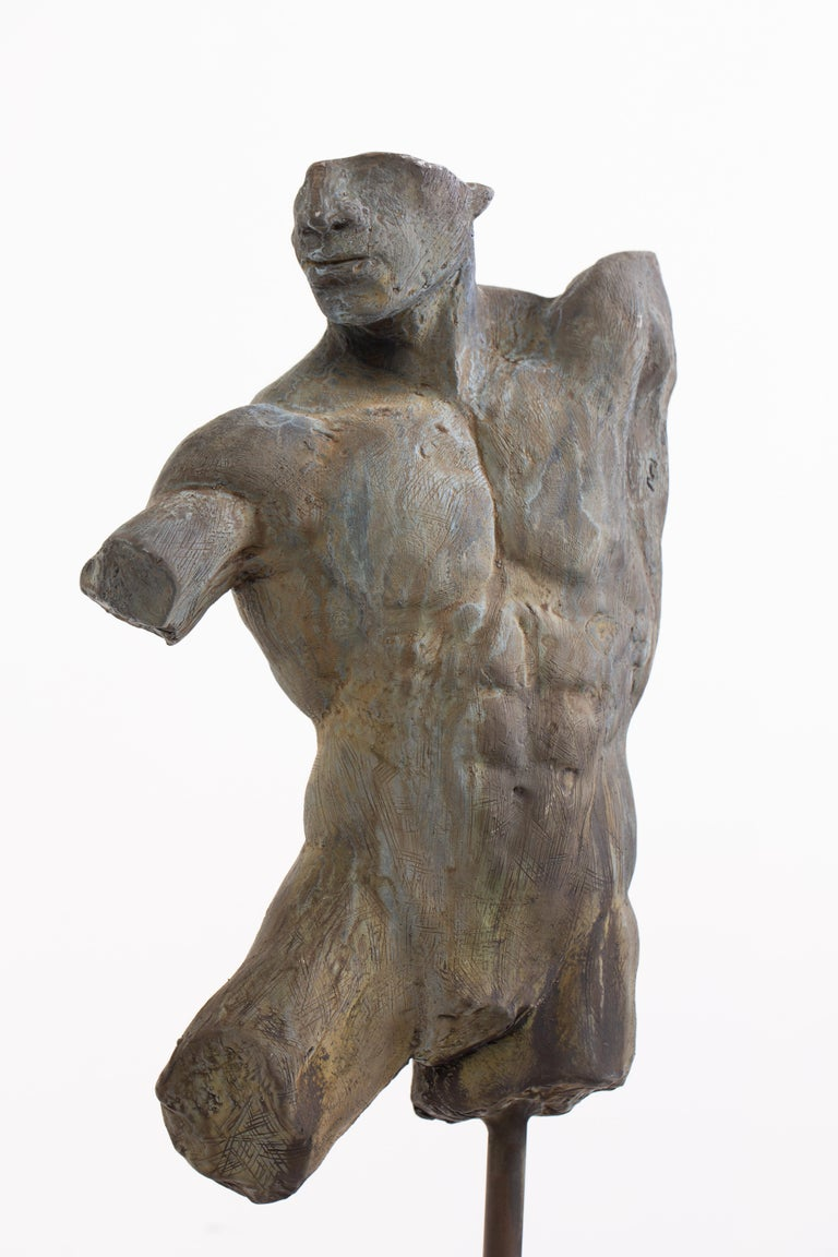 Classical Greek Iron Relic, Classical Male Nude Torso Fragment Sculpted in Bronze For Sale
