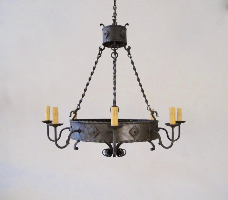 Spanish Colonial Iron Ring Chandelier For Sale