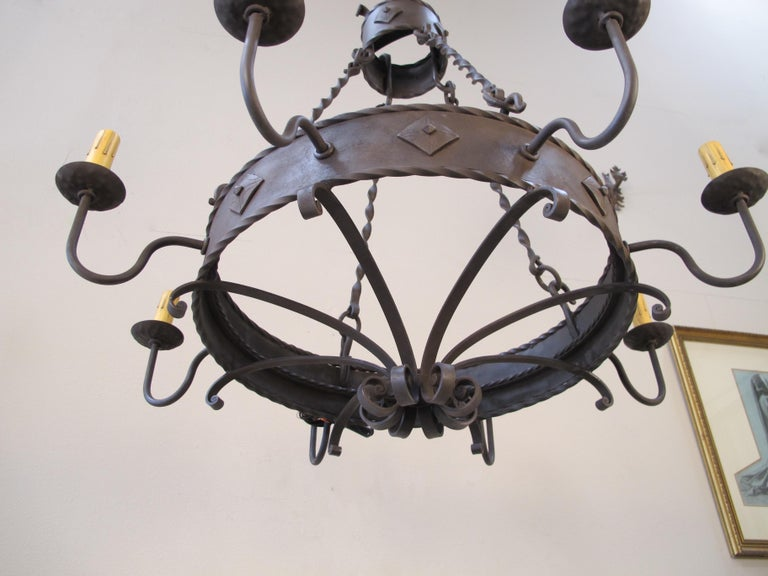 Iron Ring Chandelier In New Condition For Sale In Encinitas, CA