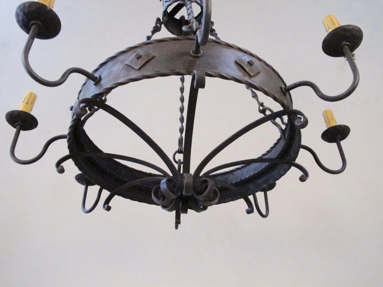 Contemporary Iron Ring Chandelier For Sale