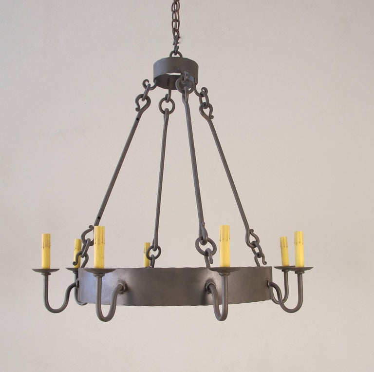 American Iron Ring Chandelier, Small For Sale