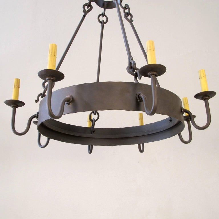 Forged Iron Ring Chandelier, Small For Sale