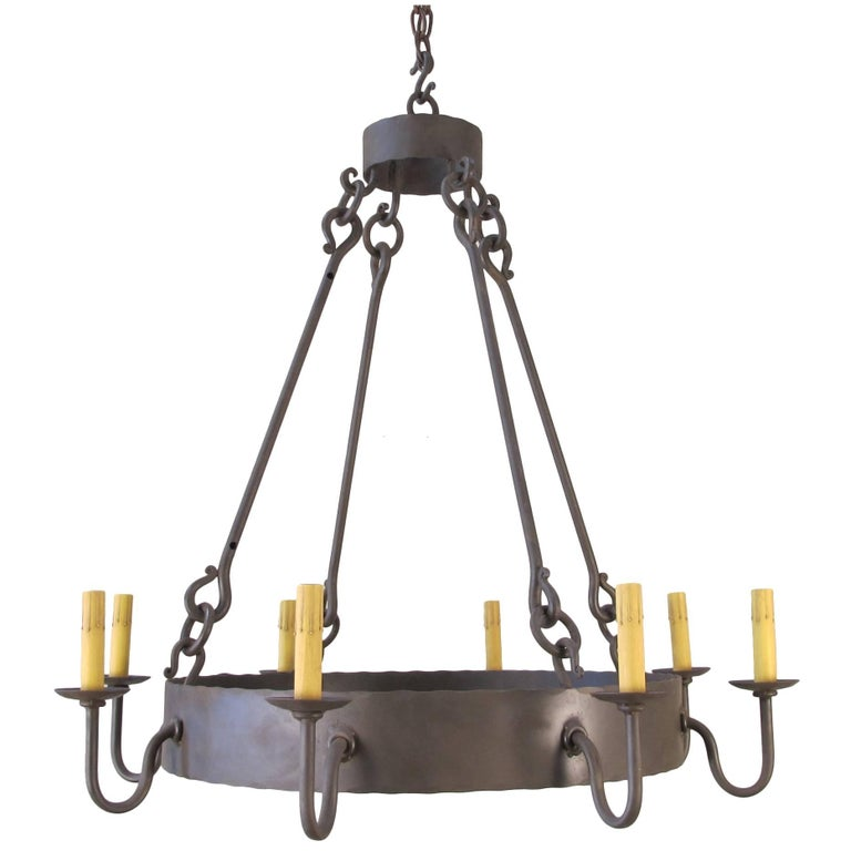 Iron Ring Chandelier, Small For Sale