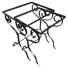 Iron Scrolling Outdoor/Patio Nesting Side Table Set