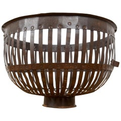 Iron Slatted Storage Log Basket with Handles, 20th Century