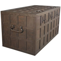 Iron Strong Box, 19th Century with Manufacturer Mark on Lid