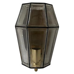 Iron Structured Glass & Brass Wall Sconce by Limburg, 1960s, Germany