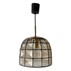 Iron Structured Glass Pendant Lamp by Limburg, 1960s, Germany