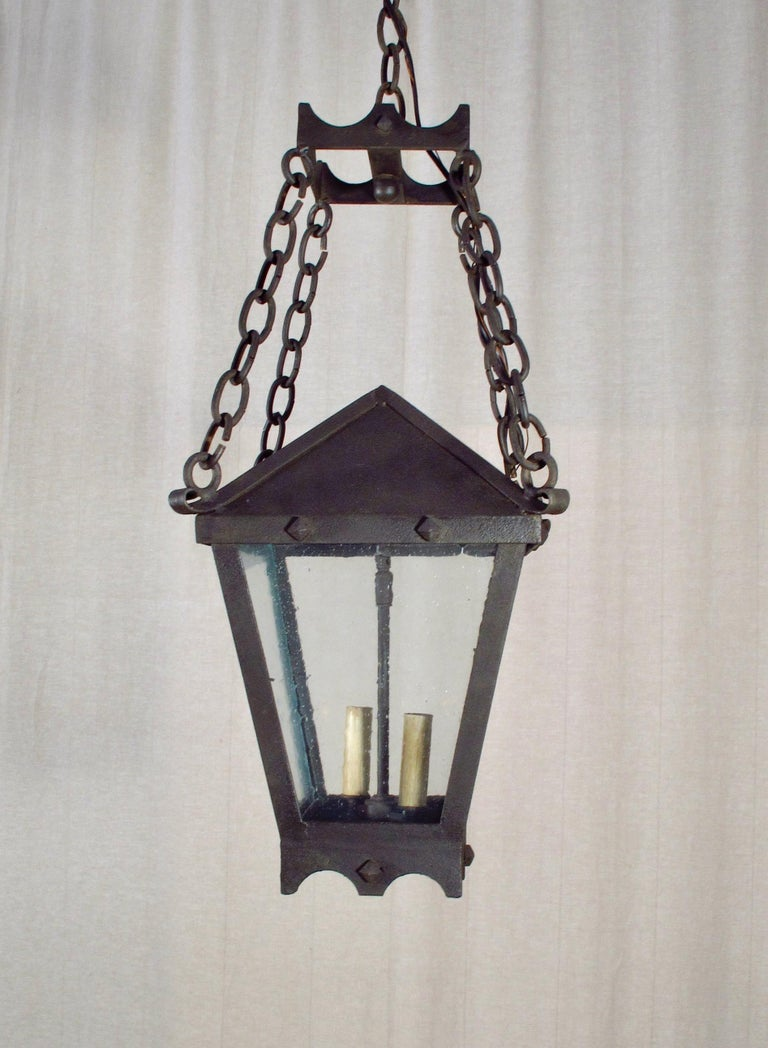 American Iron Studded Lantern on Chains For Sale