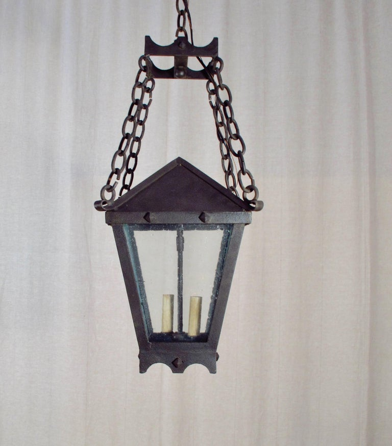 Forged Iron Studded Lantern on Chains For Sale