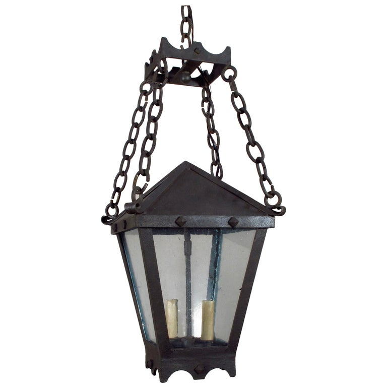 Iron Studded Lantern on Chains For Sale