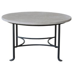 Iron Table with Limestone Top