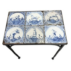 Iron Table with Six 17th Century Delft Animal Tiles