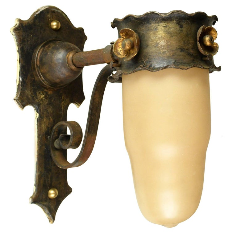 Iron Tudor Sconce with Closed Shade For Sale
