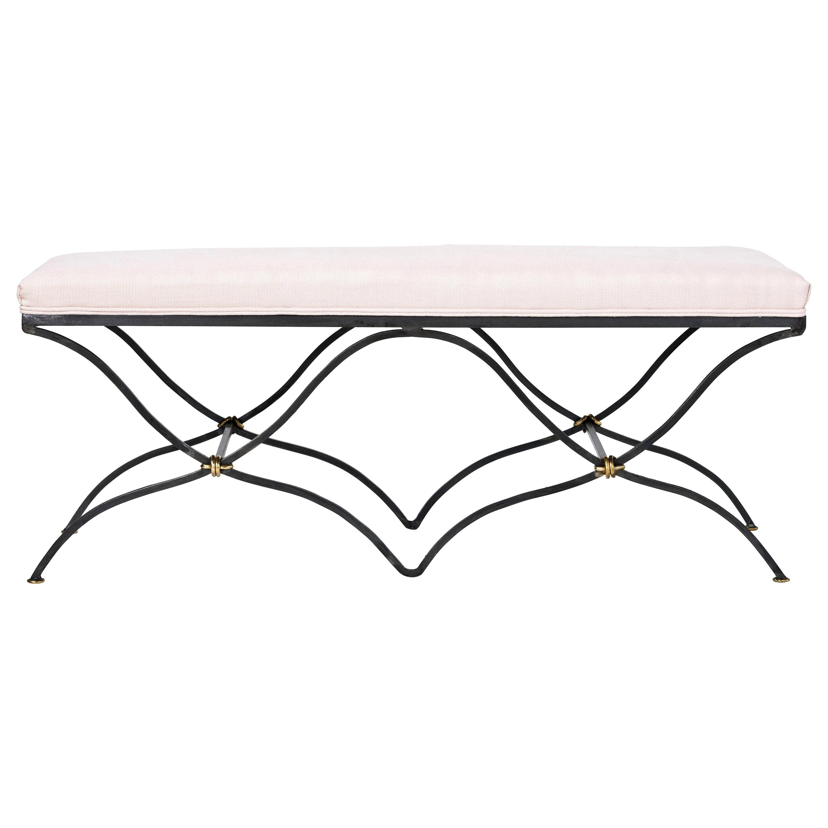 Contemporary Iron Bench Upholstered in Linen