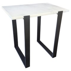 Iron Two-Tone Modern Console Table with Marble Top