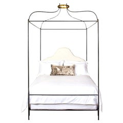 Iron Venetian Belgian Linen Upholstered Canopy Bed