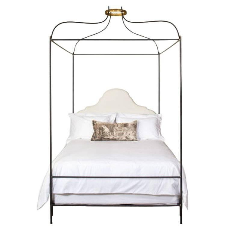 King Iron Venetian Upholstered Canopy Bed For Sale 1