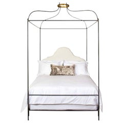 Iron Venetian Canopy Bed with Linen Headboard, Queen