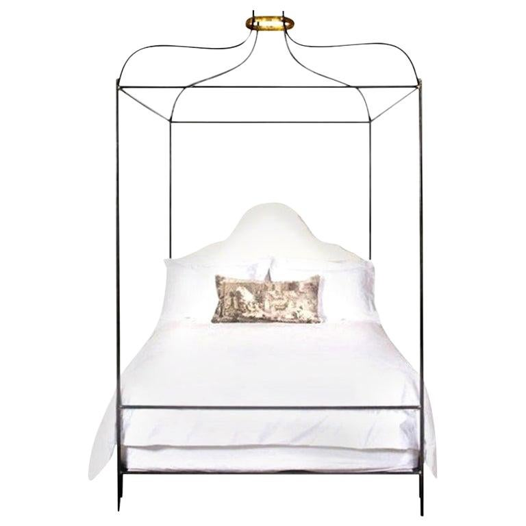 Iron Venetian Upholstered Canopy Bed with Linen Headboard, King