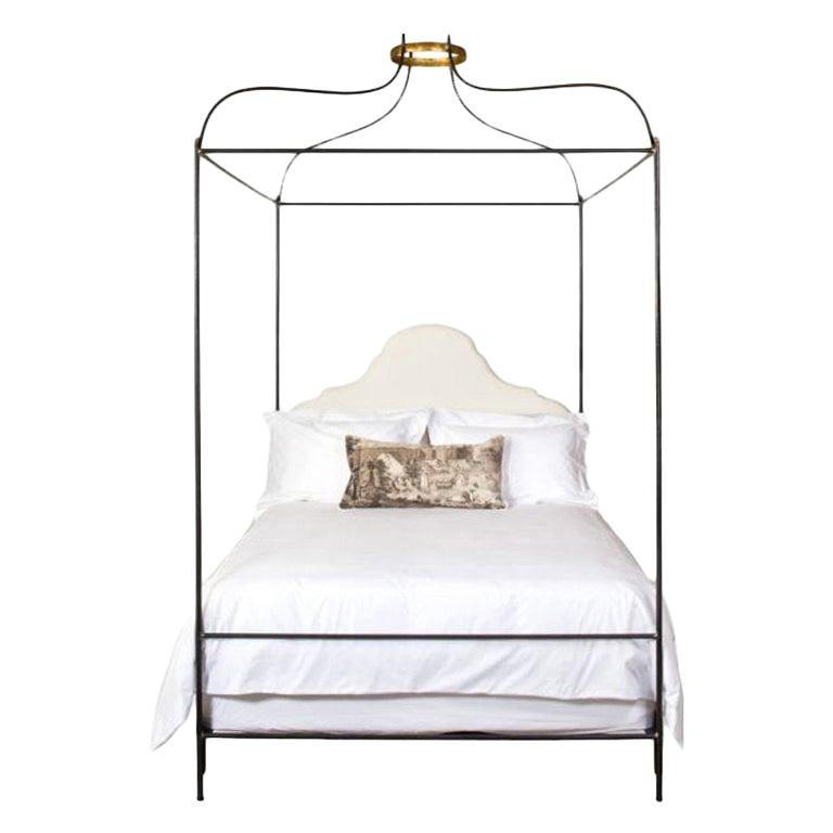 Iron Venetian Canopy Bed with Linen Headboard, Twin