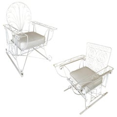 Iron Wire Patio/Outdoor Slider Rocking Lounge Chair with Scrolling Arms, Pair