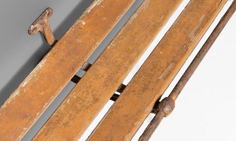 English Iron and Wood Luggage Rack, England, circa 1910 For Sale