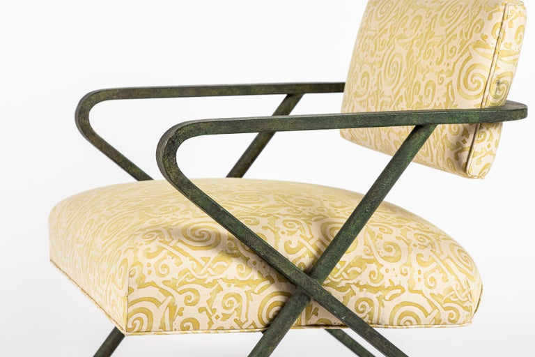 Mid-Century Modern Iron X Chair designed by William Haines For Sale
