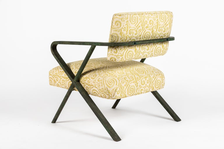 Mid-20th Century Iron X Chair designed by William Haines For Sale
