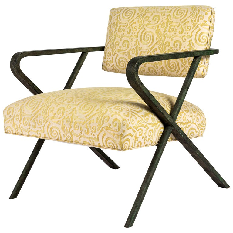 Iron X Chair designed by William Haines For Sale