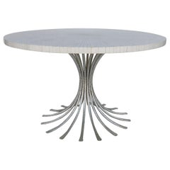 Ironies Silver Gilt Metal Table with Tessellated Bone Top