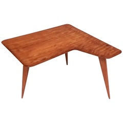Irregular Shaped Cherry Veneer Coffee Table Ascribable to Gio Ponti, Italy 1950s