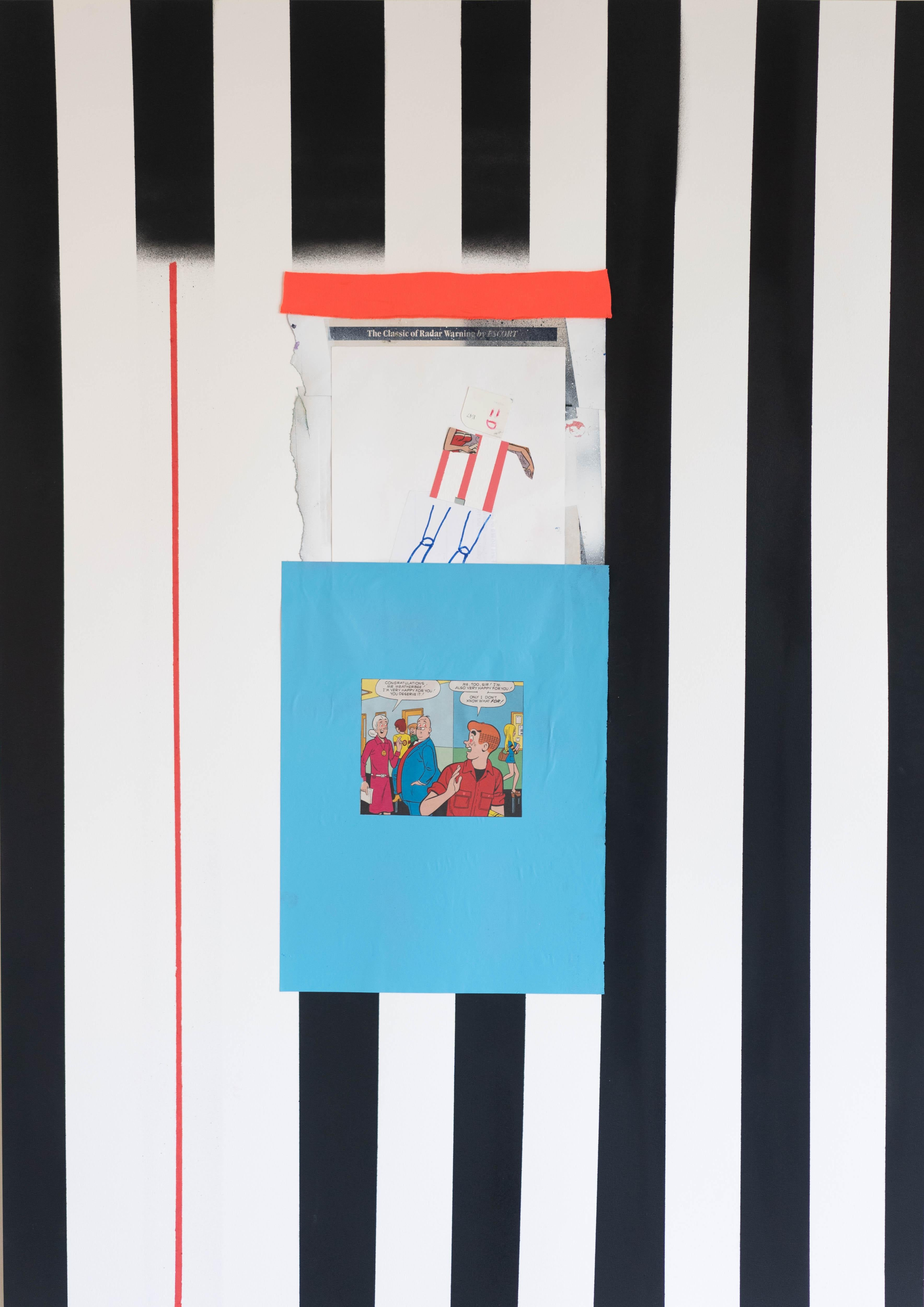 Black Stripe, Acrylic, oil pastel, aerosol, collage on paper, 60 x 84 cm, 2021