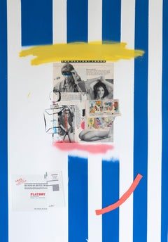 Blue Stripe, Acrylic, oil pastel, aerosol, collage on paper, 60 x 84 cm, 2021