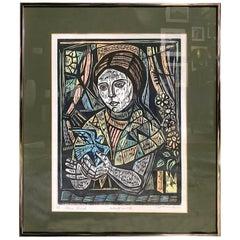 Irving Amen Jewish Artist Signed Mid-Century Modern Woodcut Print Blue Bird