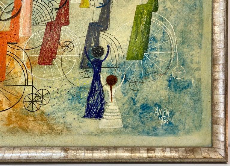 Irving Amen Girls Bicycle Parade Original Oil Painting c.1960s  Original oil on masonite  Dimensions 40.5