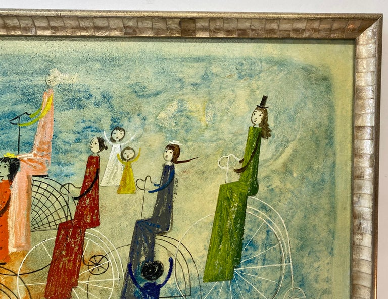 Irving Amen Girls Bicycle Parade Original Oil Painting c.1960s 1