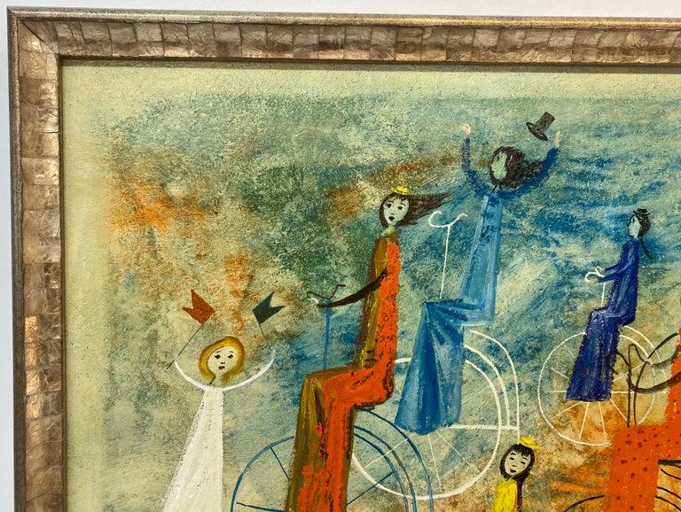 Irving Amen Girls Bicycle Parade Original Oil Painting c.1960s 2