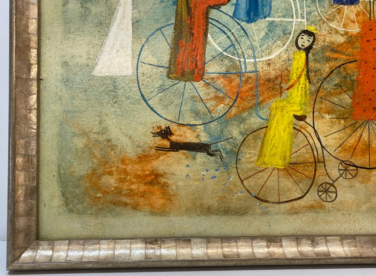 Irving Amen Girls Bicycle Parade Original Oil Painting c.1960s 3