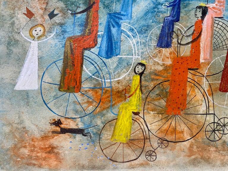 Irving Amen Girls Bicycle Parade Original Oil Painting c.1960s 4